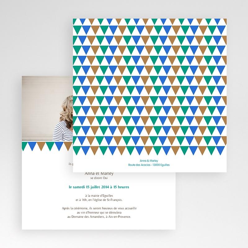 Faire-Part Mariage Pochette carré - Mosaïques Bleues 48720 thumb