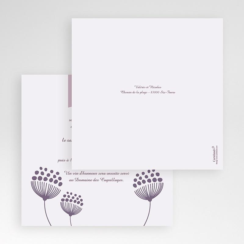 Faire-Part Mariage Pochette carré Violettes