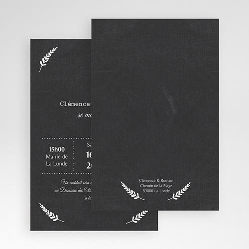 Faire Part Mariage Pochette rectangulaire - Ardoise chic 48775 thumb