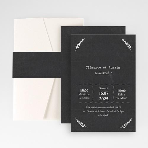 Faire Part Mariage Pochette rectangulaire - Ardoise chic 48776