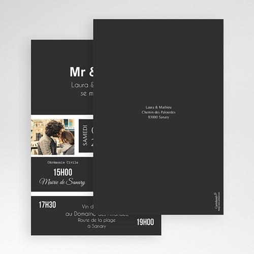 Faire Part Mariage Pochette rectangulaire - Mr & Mrs 48785 thumb