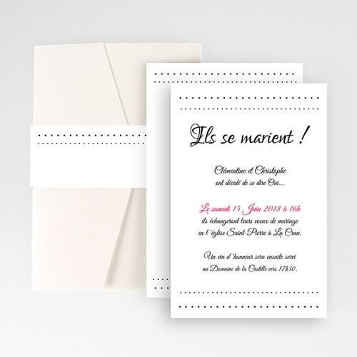 Faire Part Mariage Pochette rectangulaire - Elégance 48800