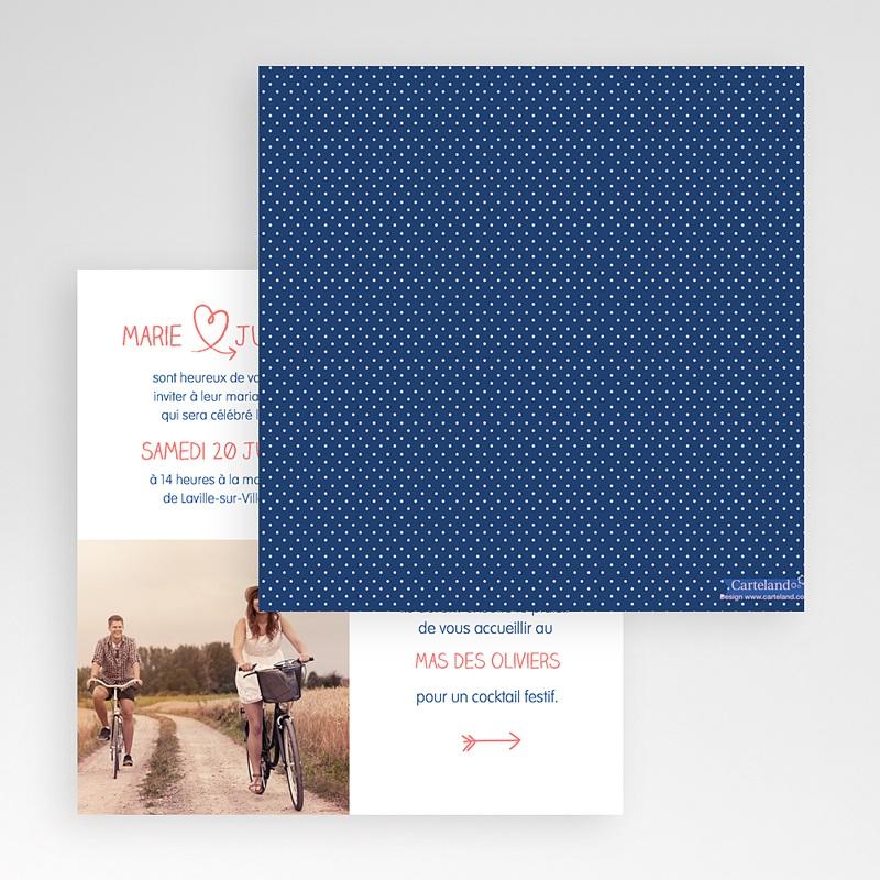 Faire-Part Mariage Pochette carré - bleu nuit, pois roses 48825 thumb