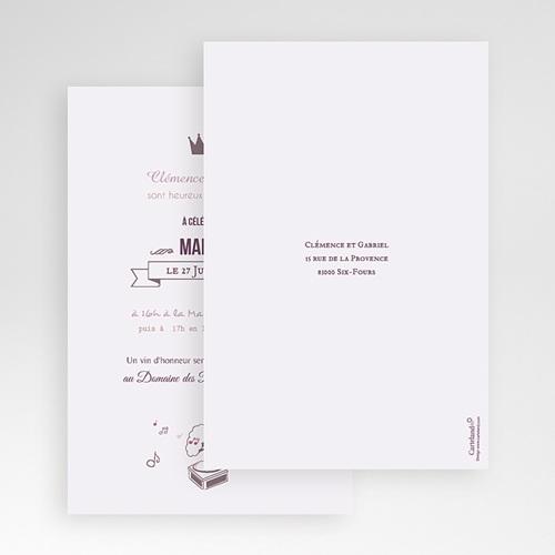 Faire Part Mariage Pochette rectangulaire - Douce musique 48833 thumb