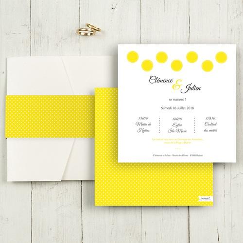 Faire-Part Mariage Pochette carré - Citron Flambloyant 48850