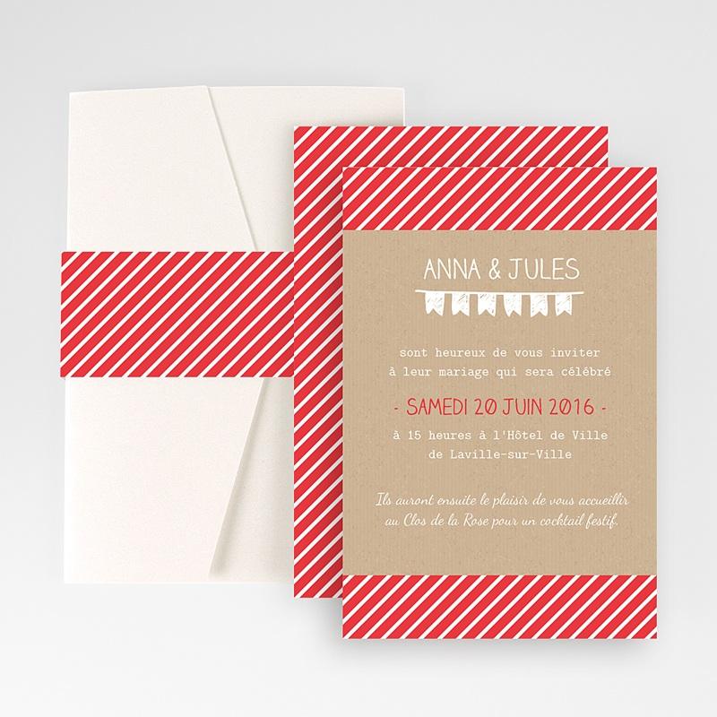 Faire Part Mariage Pochette rectangulaire - Pop Corn 48858 thumb