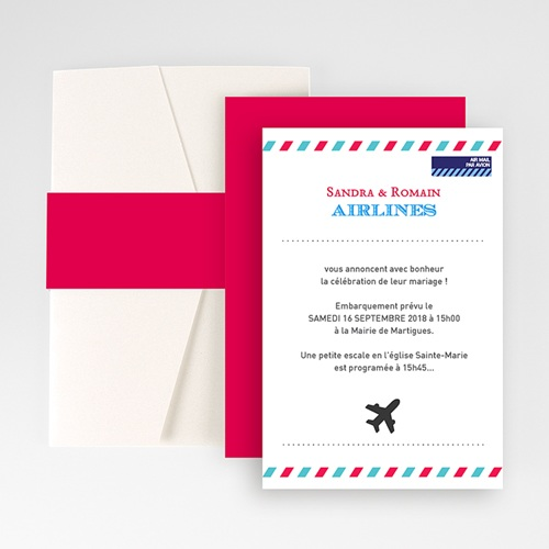 Faire Part Mariage Pochette rectangulaire - Airlines 48862 thumb