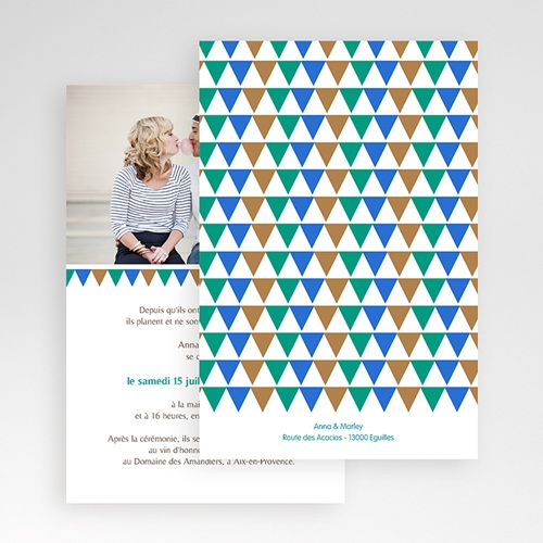 Faire Part Mariage Pochette rectangulaire - Mosaïques Bleues 48867 preview