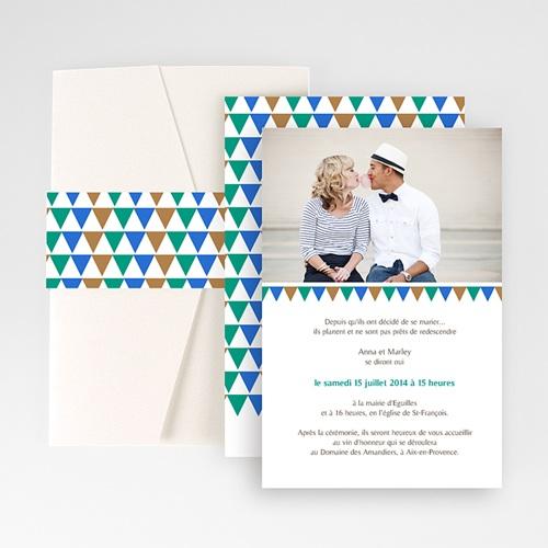 Faire Part Mariage Pochette rectangulaire - Mosaïques Bleues 48868
