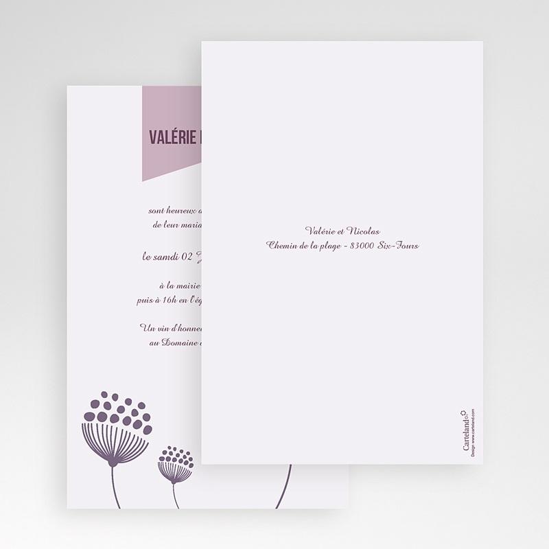 Faire Part Mariage Pochette rectangulaire - Violettes 48871 thumb
