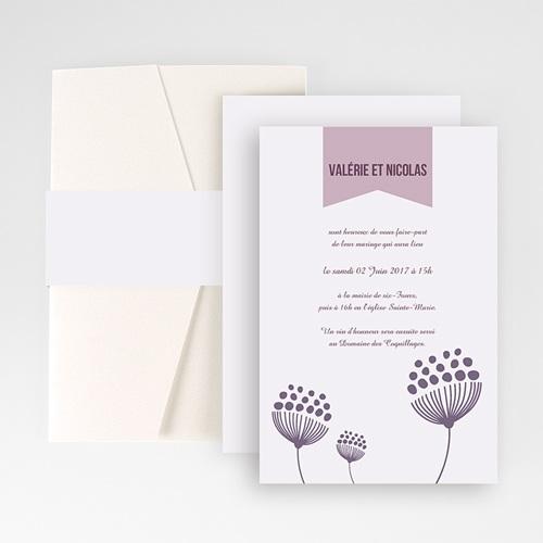 Faire Part Mariage Pochette rectangulaire - Violettes 48872