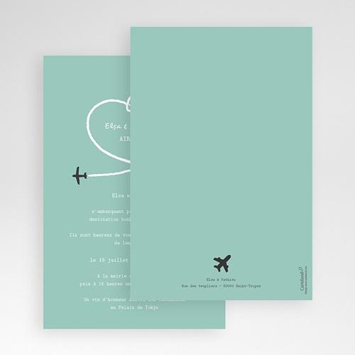 Faire Part Mariage rectangulaire Avion voyage