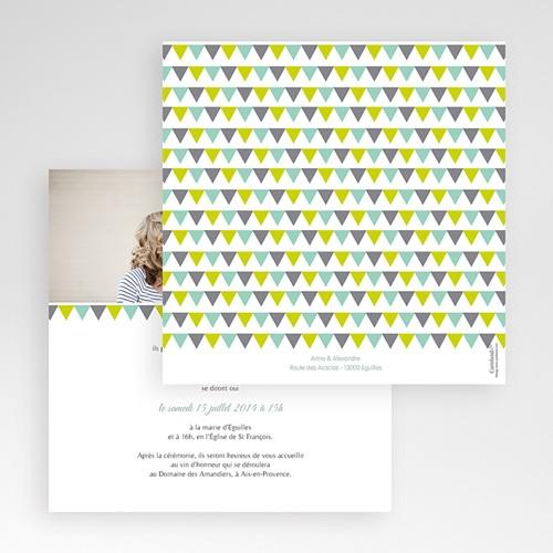 Faire-Part Mariage Pochette carré - Jolis motifs triangles 48889 thumb
