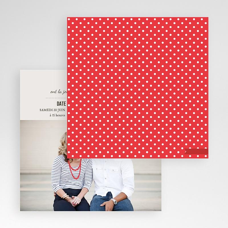 Faire-Part Mariage Pochette carré Rouge Vintage