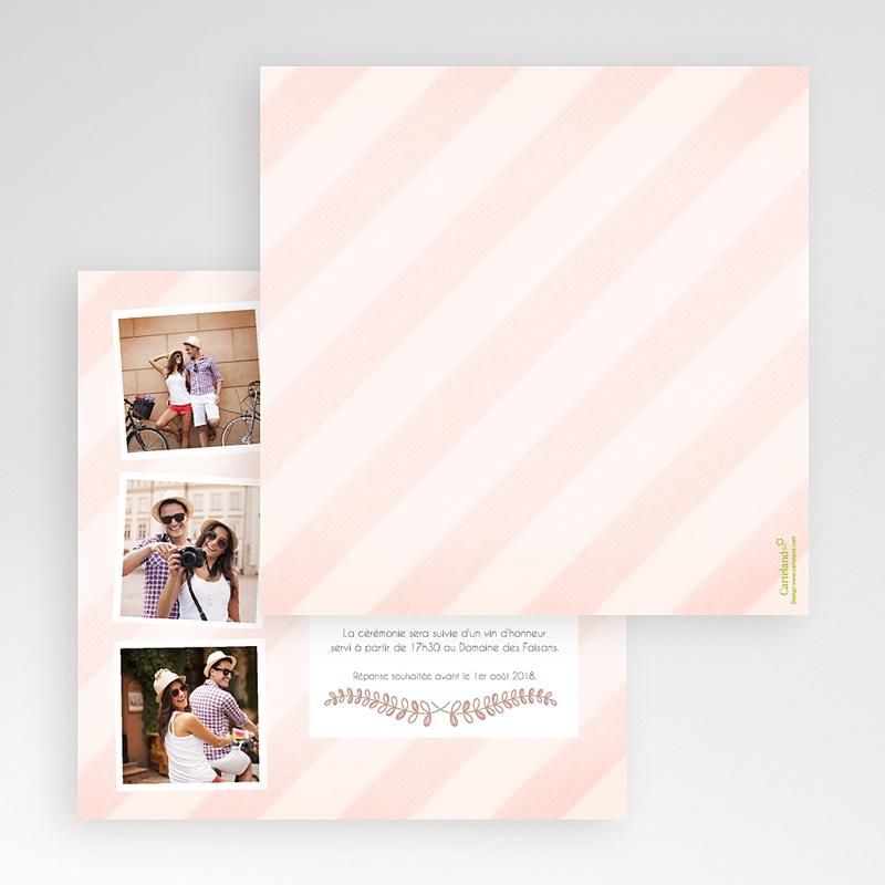 Faire-Part Mariage Pochette carré - Rayures et photos 48905 thumb