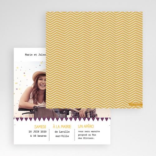 Faire-Part Mariage Pochette carré - Photos et confetti 48955 preview