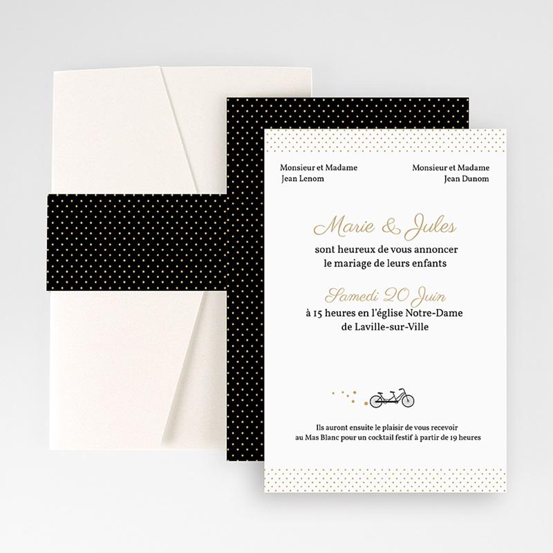 Faire Part Mariage Pochette rectangulaire - Tandem 48964 thumb