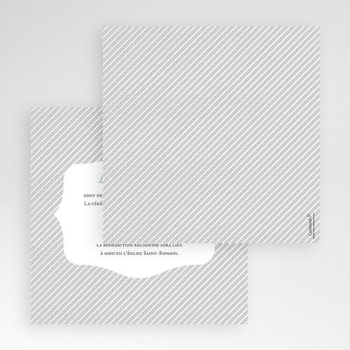 Faire-Part Mariage Pochette carré - Rayures noires 48987 thumb