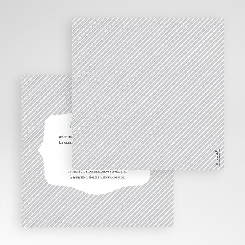 Faire-Part Mariage Pochette carré Rayures noires