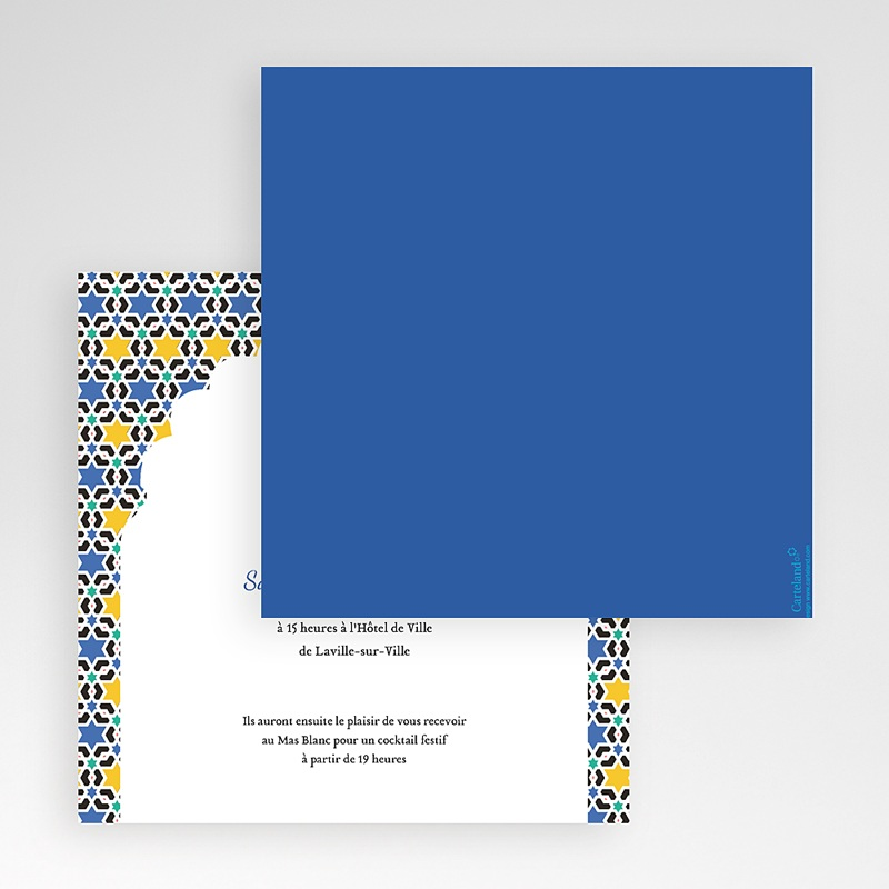 Faire-Part Mariage Pochette carré Zellige Bleu