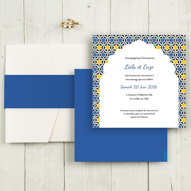 Faire-Part Mariage Pochette carré - Zellige Bleu 48992 thumb