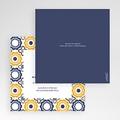 Faire-Part Mariage Pochette carré - Bleu marine et orange 48997 thumb