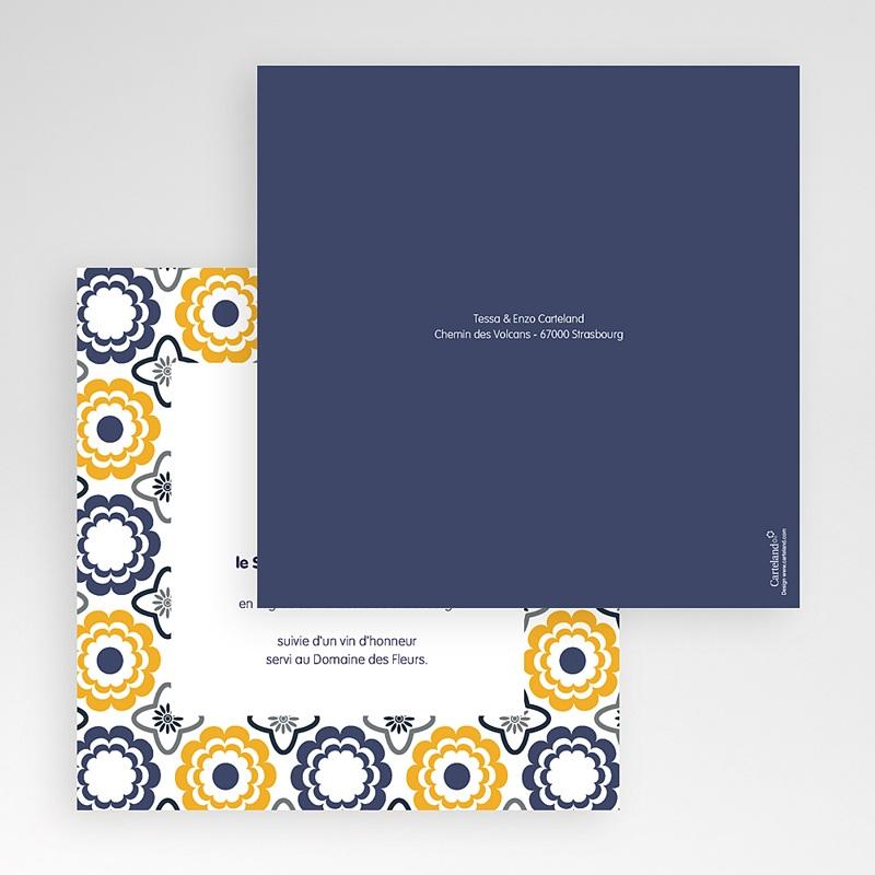Faire-Part Mariage Pochette carré Bleu marine et orange
