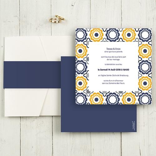 Faire-Part Mariage Pochette carré - Bleu marine et orange 48998 thumb