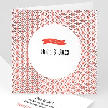 Faire part mariage rouge et blanc - Motif origami - 0