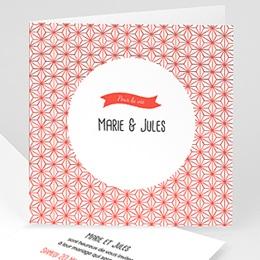 Faire-part mariage rouge et blanc Motif origami