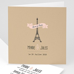 Faire Part Mariage Voyage - Paris - 0