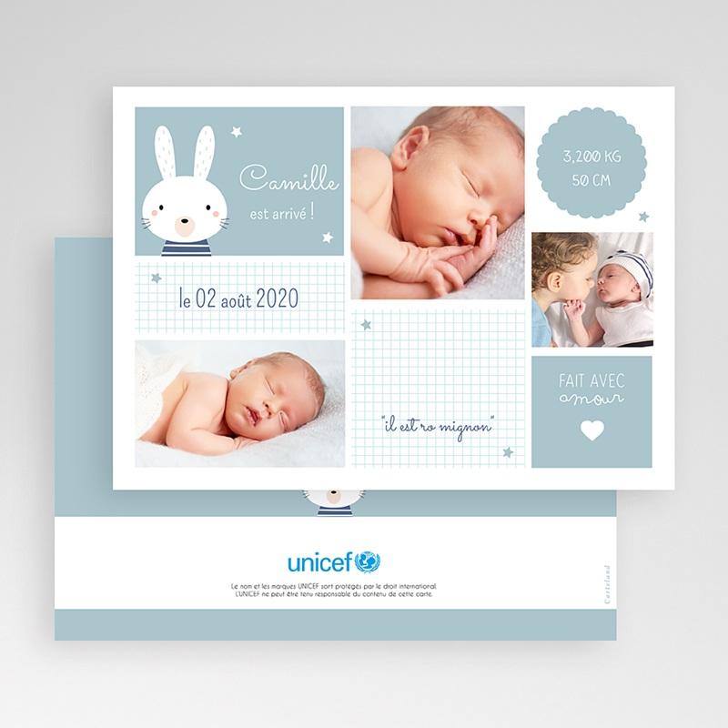 Faire-Part Naissance Garçon UNICEF Bleu tendre gratuit