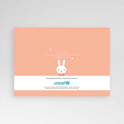 Faire-Part Naissance Oiseau UNICEF avec grandes oreilles et moustaches pas cher