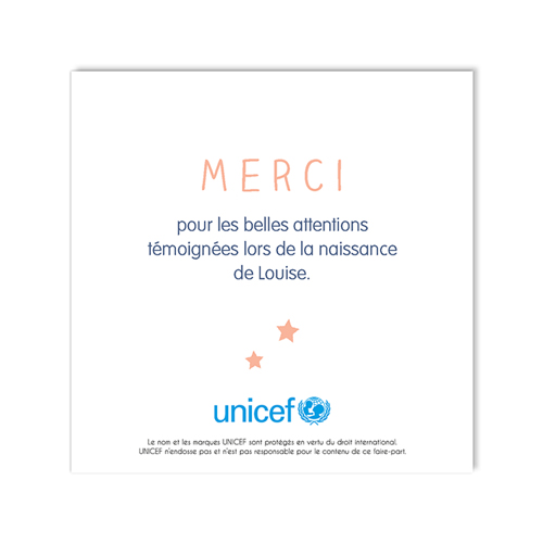 Remerciement Naissance UNICEF - Rose tendre 49148 preview
