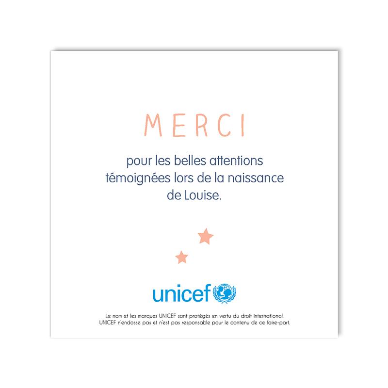 Carte Remerciement Naissance UNICEF Rose tendre gratuit