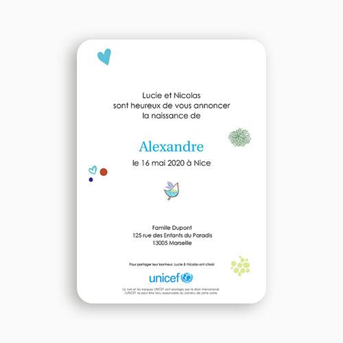 Faire-Part Naissance Garçon UNICEF - Oiseau du Paradis 49213 thumb