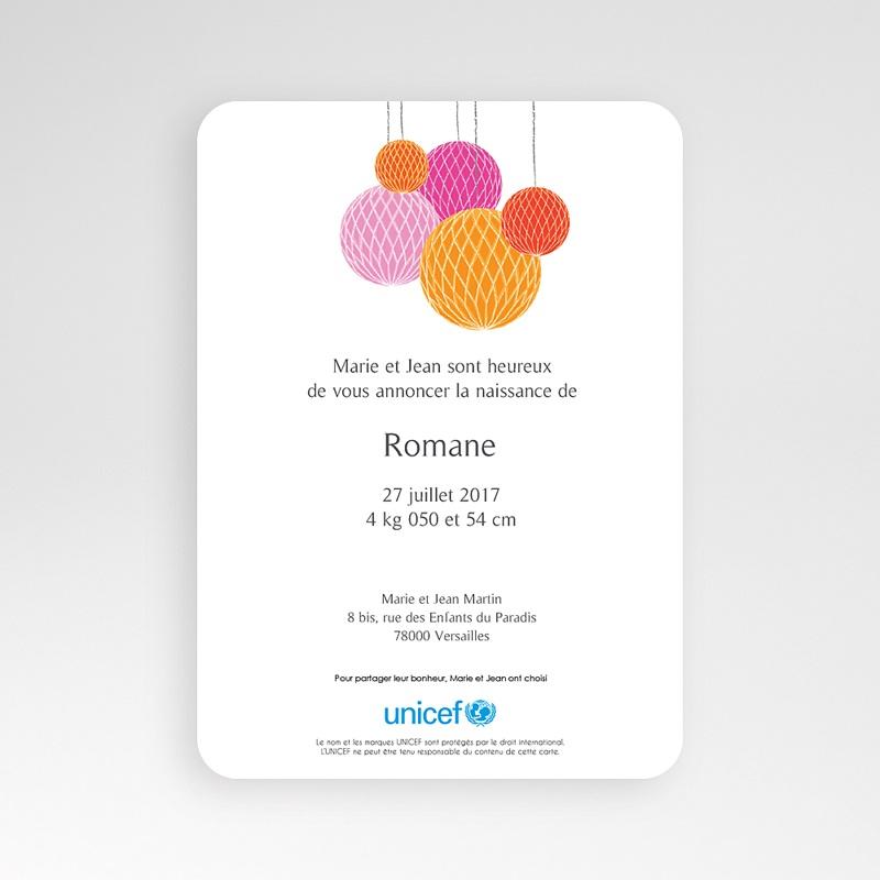 Faire-Part Naissance Fille UNICEF Lampions de Joie pas cher