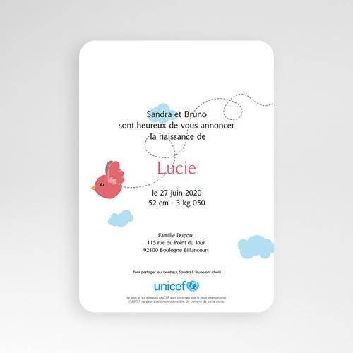 Faire-Part Naissance Fille UNICEF - Piou Rouge 49225 thumb