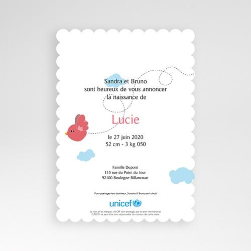 Faire-Part Naissance Fille UNICEF - Piou Rouge 49228 preview