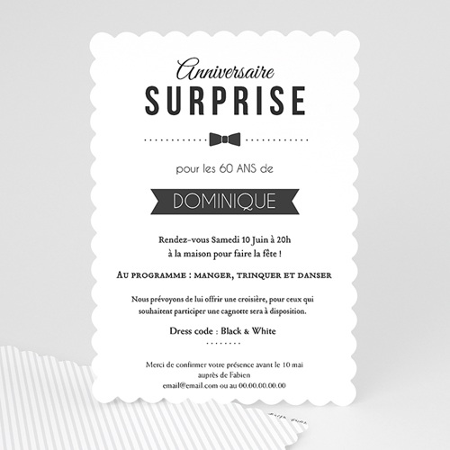 Invitation Anniversaire Adulte - Black Tie Only 49281