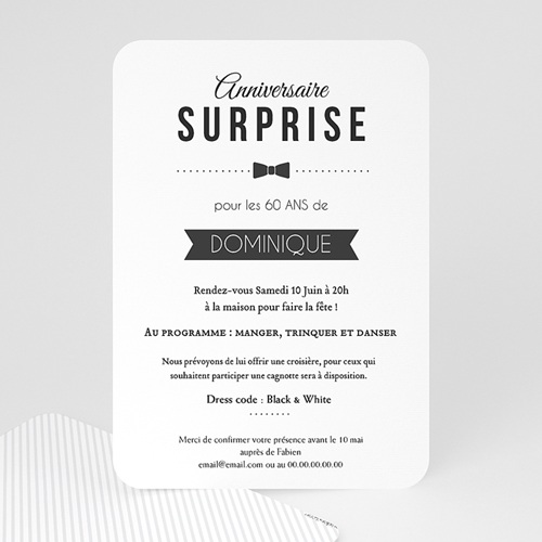 Invitation Anniversaire Adulte - Black Tie Only 49284 thumb