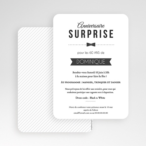 Invitation Anniversaire Adulte - Black Tie Only 49286 thumb