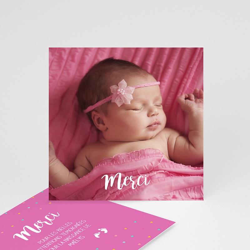 Carte remerciement naissance fille Accordéon Rose