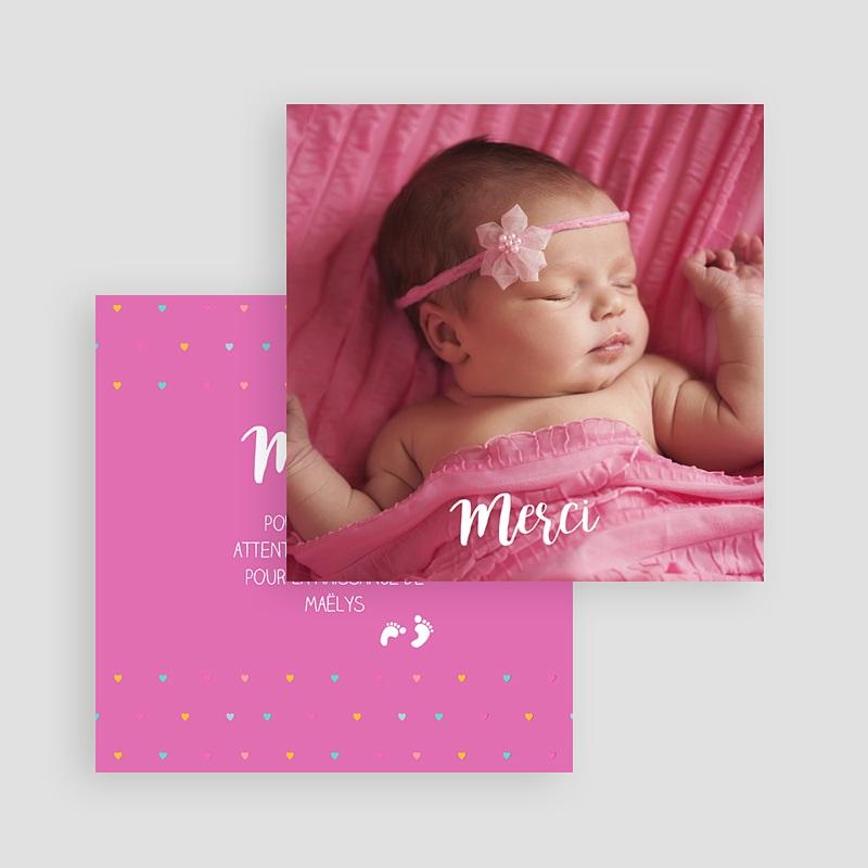 Carte remerciement naissance fille Accordéon Rose gratuit