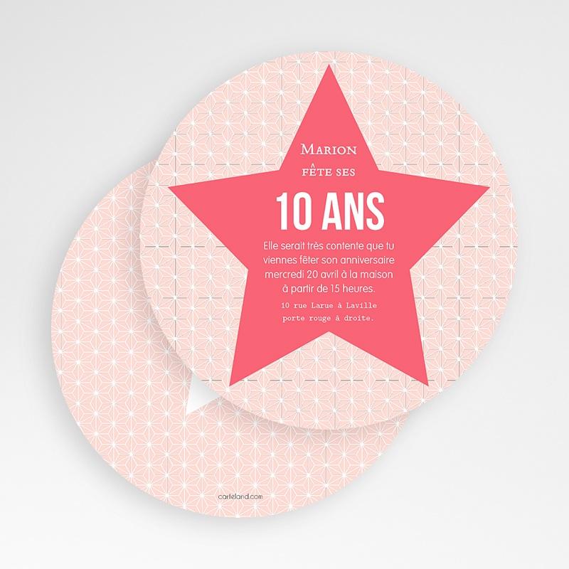 Carte invitation anniversaire fille Etoile Rose gratuit