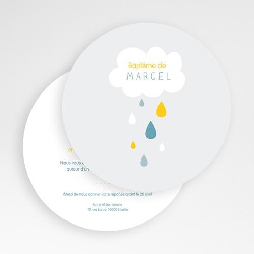 Faire-Part Baptême Garçon Pluie Bénite Bleue gratuit