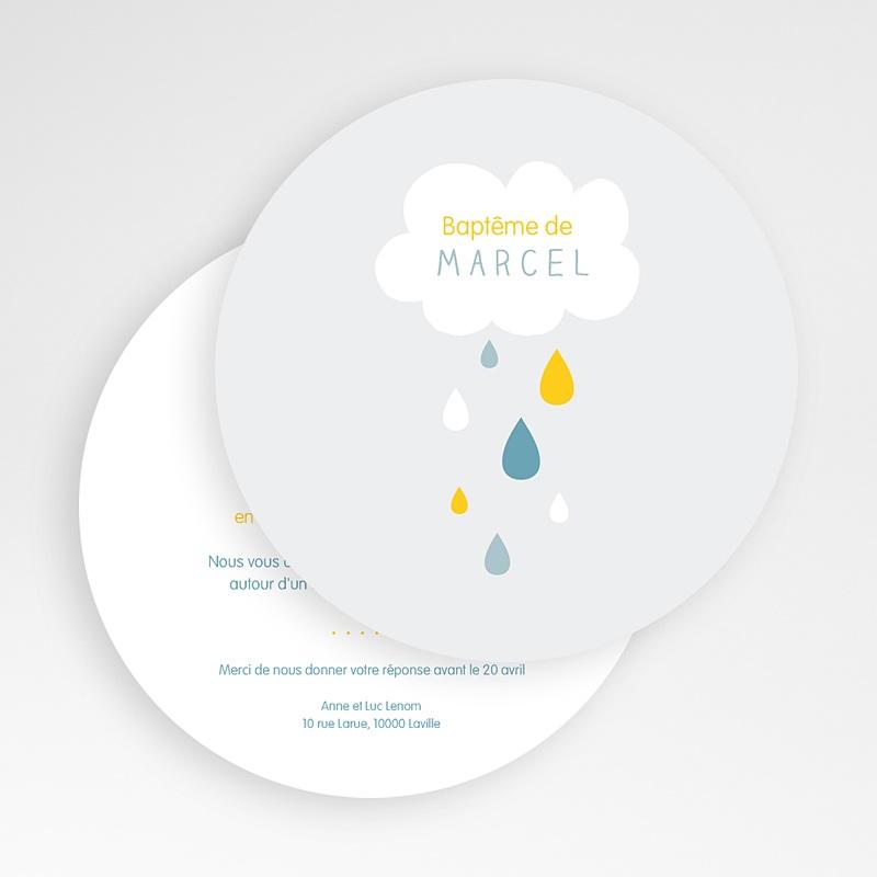 Faire-part Baptême Garçon - Pluie Bénite Bleue 49426 thumb