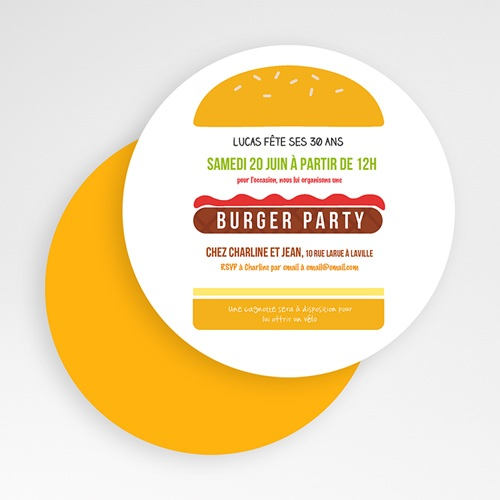 Invitation Anniversaire Adulte - Burger party 49430 preview