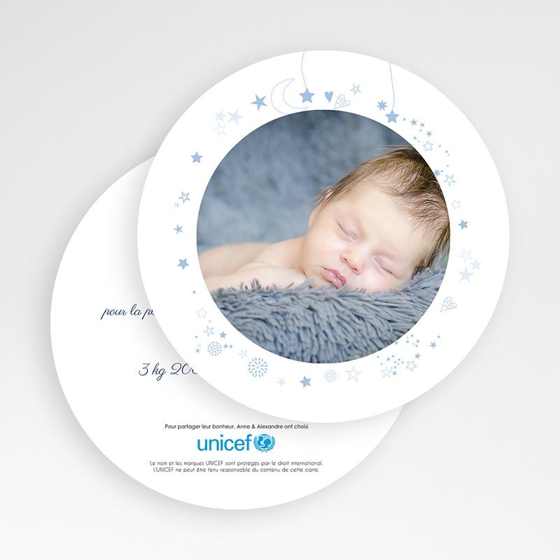 Faire-Part Naissance Garçon UNICEF Bleu Etoilé gratuit