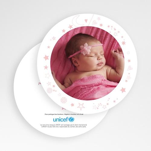 Faire-Part Naissance Fille UNICEF Rose Etoilée gratuit